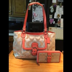 Coach Tan Sateen Coral Leather Satchel & Clutch